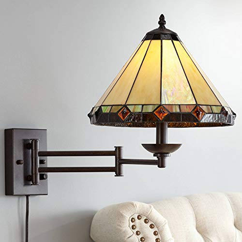 Tiffany Style Glass Panel Plug-in Swing Arm Wall Lamp - Robert Louis -