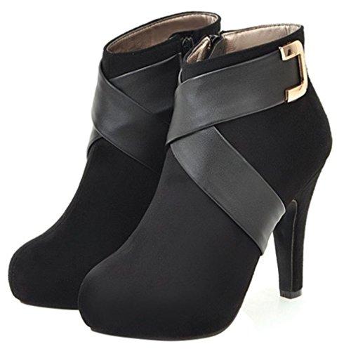 Enmayer Mocka Material Skor Boots För Kvinnor Höga Klackar Rund Tå Blixtlås Korta Stövlar