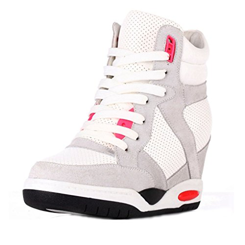 High Top Wedge Sneakers for Womens  Antislip Rubber Sole Round Toe Casual Shoes  5TSTUB7R1