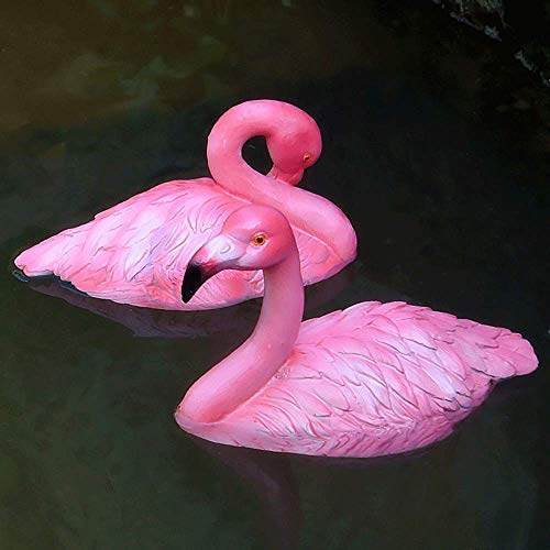 Sungmor 2PCS Artificial Resin Floating Flamingo Pond Decoration | Decorative Aquarium Fish Pond Model Sculpture | Pond &Fountain Floating Decoration Flamingo ()