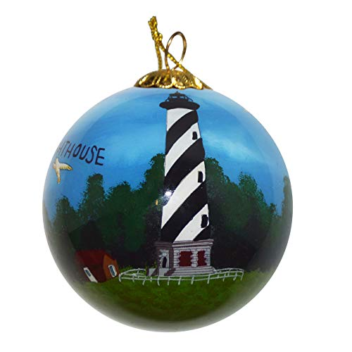 (Art Studio Company Hand Painted Glass Christmas Ornament - Cape Hatteras Lighthouse)