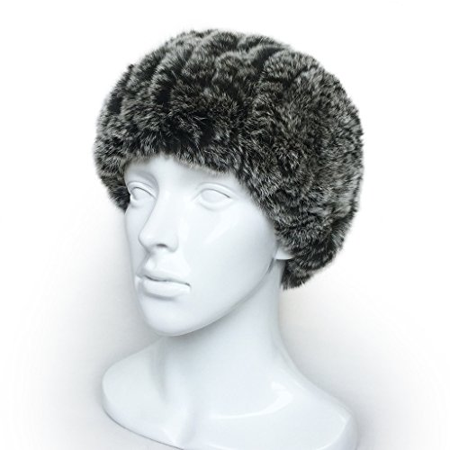Lethmik Head Wraps Womens Head Infinity Scarf Real Rex Rabbit Knit Headband Warm Neck Black snow