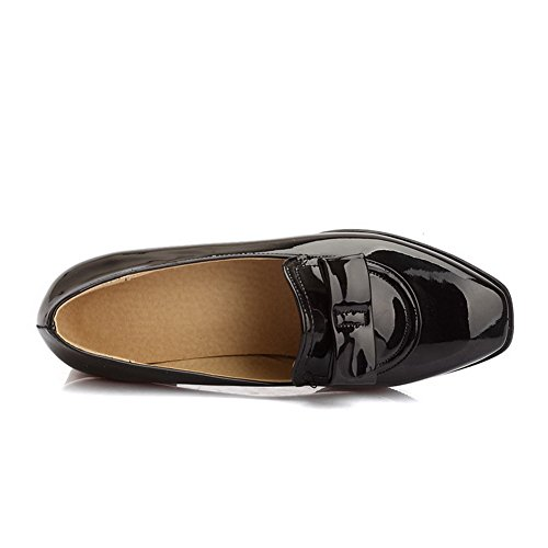 Allhqfashion Damesschoenen-hakken Lakleder Stevige Pull-on Vierkante Dichte Teen Pumps-schoenen Zwart