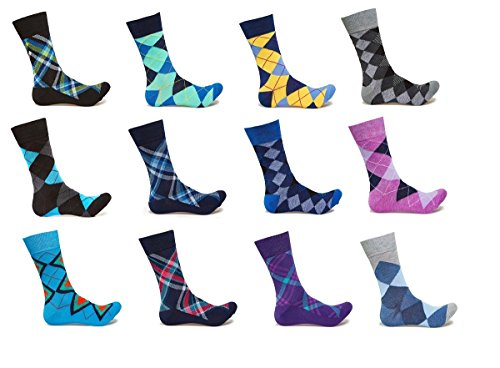 Cardinal 12' Tube (Alberto Cardinali Limited Edition Men's Colorful Argyle Socks (12-Pack))