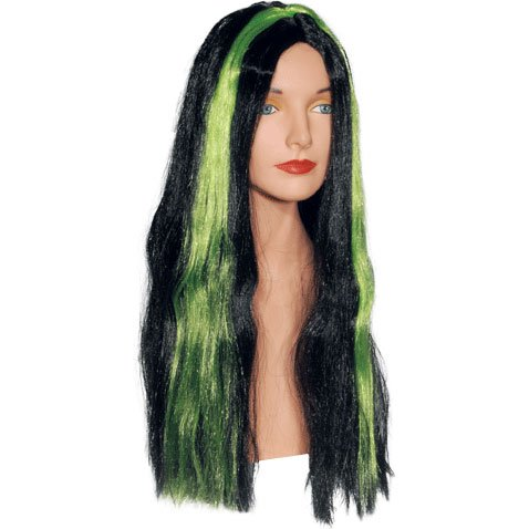 Black with Green Stripe Witch (Witch Wig Stripes)