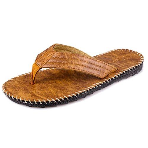 comode all'aperto in Sandali Estivi Spiaggia da estive Uomo semplici Pantofole Premium Castano Sandali AUVSTAR da da Pelle Pantofole Uomo fHnBx7