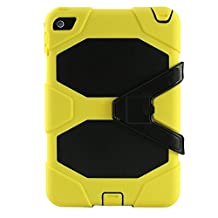 IIYBC Brand for Apple iPad Mini 4 Defender Shockproof Survivor Military Duty Hybrid Hard Case with Soft Silicone (Yellow)