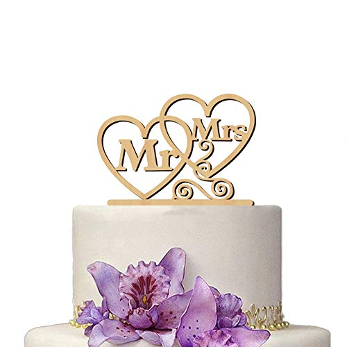 Romantic Wooden Mr and Mrs Wedding Cake Topper Cake Picks for Wedding Party Cake Decoration Supplies (Heart)