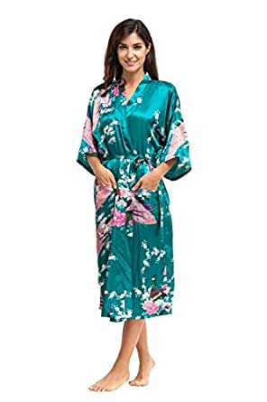 KimonoDeals Women's Soft Kimono Robe,with Pockets-Atrovirens, Peacock & Plum Blossom,Long