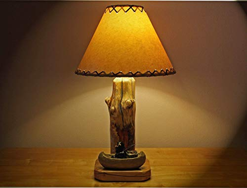 - Rustic Lodge/Cabin Style Lamp.Bear Fishing In His Canoe Table Lamp with 14