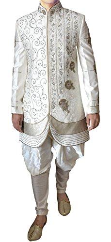 INMONARCH da uomo ricamato partywear Crema indo occidentale in370 Cream 52 Lungo