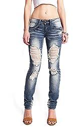 Machine Women's Juniors Low Rise Ripped Skinny Jeans (1, Denim)