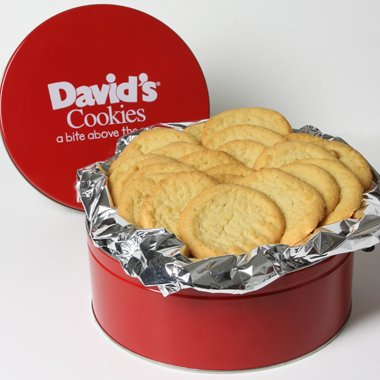 David's Cookies — Sugar Fresh-Baked Cookie Gift Tin — Contains 24 Fresh Cookies — OU-D Certified Kosher Product — Fresh Homemade Cookies — No Added Preservatives — All-Natural Cookies — 2 lb. Gift Tin
