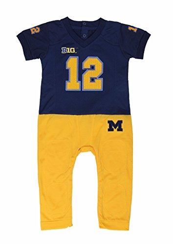Small University Set Uniform - Fast Asleep NCAA Michigan Wolverines Baby Football Uniform Onesie Pajama, Blue, (3-6)