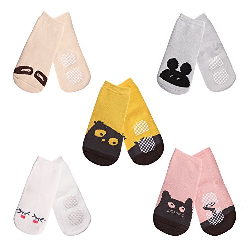 Meaiguo Anti Non Skid Slip Toddler Socks with Grips for Kids Boys Girls 5 Pack(Thick Medium)