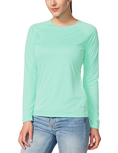 Baleaf Women's UPF 50+ Sun Protection Long Sleeve Outdoor Performance T-Shirt Light Green Size M (Sleeve Forearm Protective)