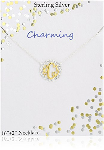 Tone Crystal Necklace (Sterling Silver Two Tone Crystal Monogram Station