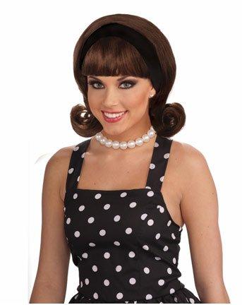 1950s Wig with Headband Costume -