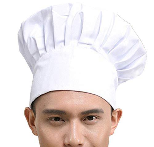 Hyzrz Chef Hat Adult Adjustable Elastic Baker Kitchen Cooking Chef Cap, White -