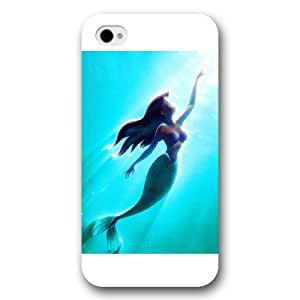 UniqueBox Customized Disney Series Case for iPhone 4 4S, The Little Mermaid iPhone 4 4S Case, Only Fit for Apple iPhone 4 4S (White Frosted Shell)