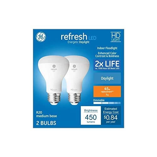 GE Refresh 2-Pack 45 W Equivalent Dimmable 5000k Daylight R20 LED Light Fixture Light Bulbs ()