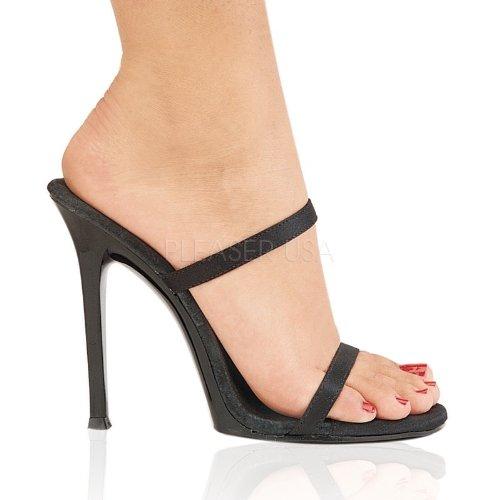 Fabulicious - Sandalias de vestir de satén para mujer Schwarz