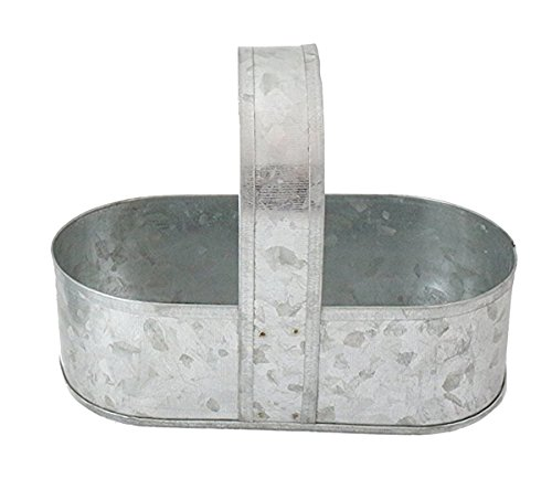 Galvanized Picnic Caddy Silverware and Utensil Holder Rustic Farmhouse 8