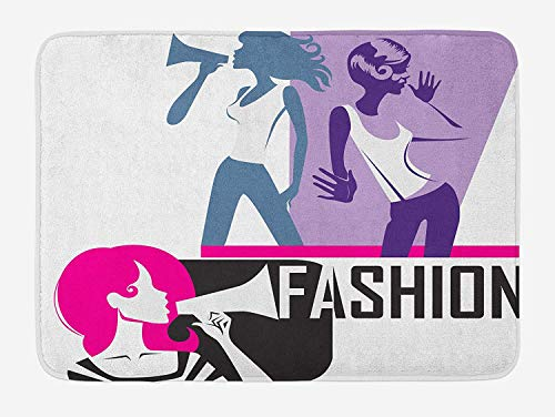 (Teen Girls Bath Mat, Composition of Girls Yelling into Megaphone Modern Stylish Fashion Themed Art, Plush Bathroom Decor Mat with Non Slip Backing, 23.6 W X 15.7 W Inches, Purple Black)