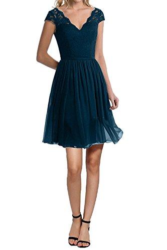 Knielang Spitze Blau La Lang kurz Abendkleider Partykleider Dunkel Blau Braut Festlichkleider mia Kurzarm Brautjungfernkleider EFzzt