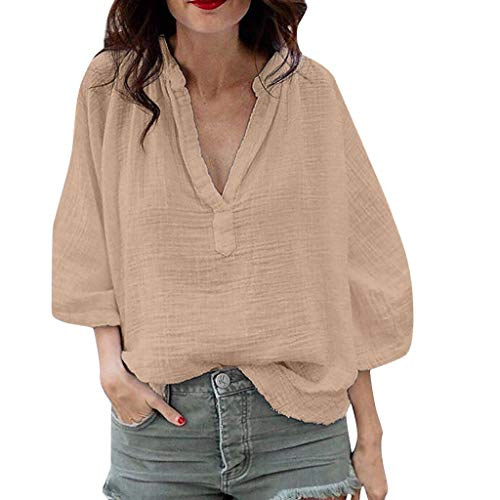 Tantisy ♣↭♣ Women's Plus Size V-Neck Blouse Long Sleeve Casual Breathable T Shirt Ladies Solid Tops Khaki