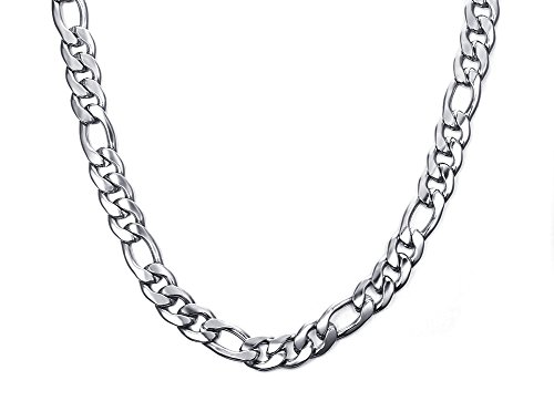 10mm Men's Punk Heavy Polished Stainless Steel Figaro Chain Necklace, 24