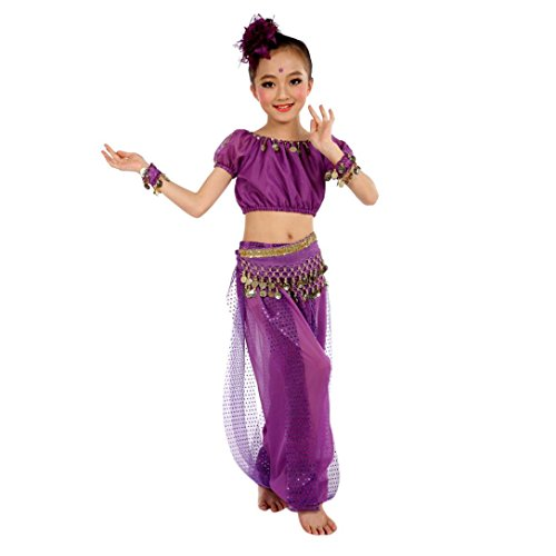 [Fullkang Girls Belly Dance Costumes Kids Belly Dancing Indian Performance (S, Purple)] (Purple Belly Dance Costume)