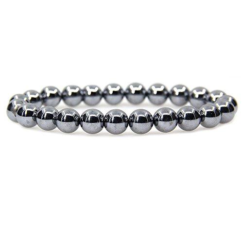 Amandastone Natural Terahertz Jasper Gemstone 8mm Round Beads Stretch Bracelet 7