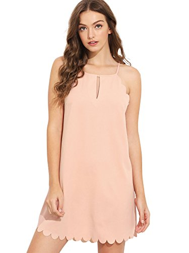 Edge Scallop Double (SheIn Women's Plain Double Keyhole Scallop Edge Dress Pink Medium)
