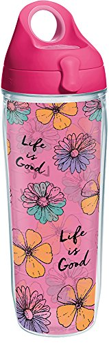 Life Is Good Water Bottle - Tervis 1265654 Life is Good - Floral Pattern Tumbler with Wrap and Passion Pink Lid 24oz Water Bottle, Clear