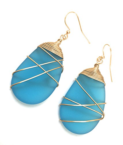 Sea Glass Earrings/Turquoise/Wire Wrapped/Handmade/Gold/Gold Plated/Ocean/Beach/RecycledGlass