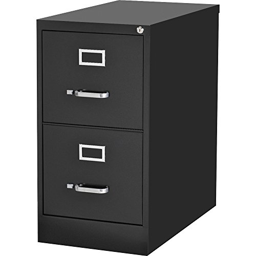 Lorell Commercial-grade Vertical File - 15'' X 22'' X 28'' - 2 X File Drawer[s] - Letter - Lockable, Ball-bearing Suspension - Black (LLR42291) by Supernon