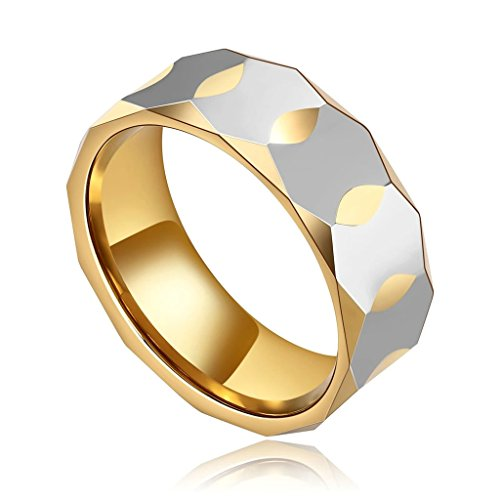 AMDXD Jewelry Stainless Steel Promise Rings for Men Rhombic Cut Silver Gold 9MM,Size 6