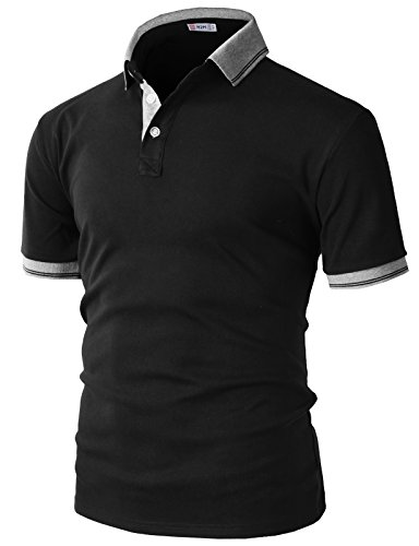 H2H Mens Casual Slim Fit Polo Black US S/Asia M (KMTTS0560) (Best Brands For Mens Formal Shirts)