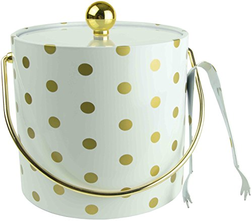 Hand Made In USA White With Gold Polka Dots Double Walled 3-Quart Insulated Ice Bucket With Bonus Ice Tongs