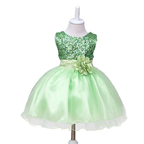 HUANQIUE Baby Girls Wedding Pageant Dress Princess Tutu Dress Green 9-12Month by HUANQIUE