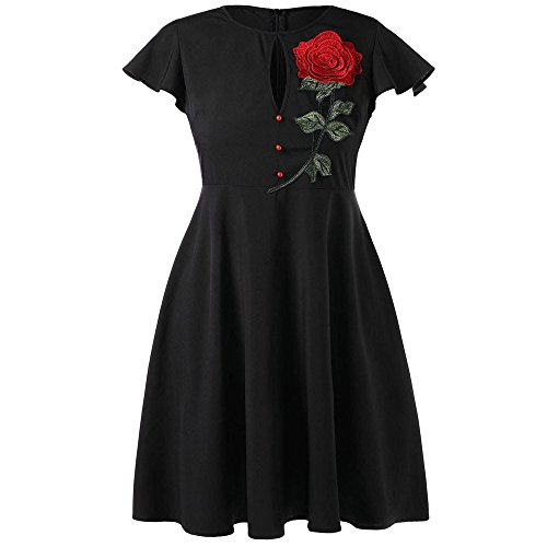 Clearance Womens Plus Size Vintage Party Dress with Embroidered Dress (L, Black)