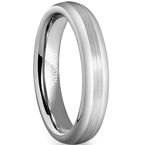FCL 4mm Men's Tungsten Carbide Wedding Ring Matte Brushed Center Polished Band Size 10.5