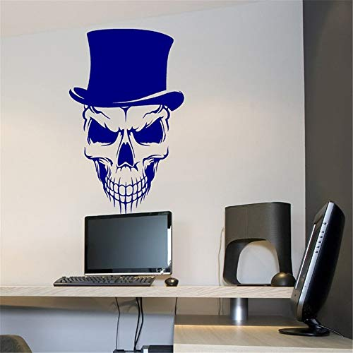 Wall Sticker Decal Mural Window Vinyl Decal Quote Art Happy Halloween Skull with Top Hat Cool Living Room Carving Sticker for Holiday Party Home Window -