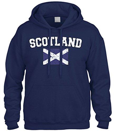 Cybertela Faded Distressed Scotland Flag Sweatshirt Hoodie Hoody (Navy Blue, Large) (Mens Scotland Hoodie)