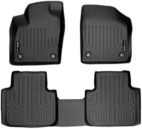 SMARTLINER All Weather Floor Mats 2 Row Liner Set Black for 2018-21 Volkswagen Atlas/2020-21 Cross Sport with 2nd Row Bench Seat