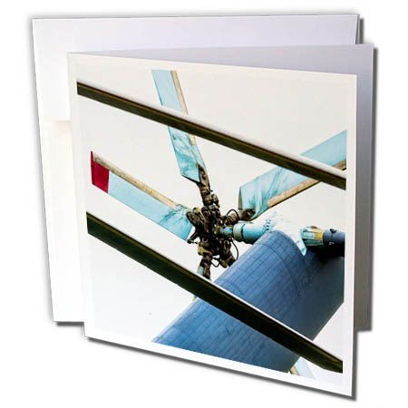 3dRose Alexis Photography - Transport Air - Helicopter tail propeller and rotor blades - 12 Greeting Cards with envelopes (gc_267360_2)