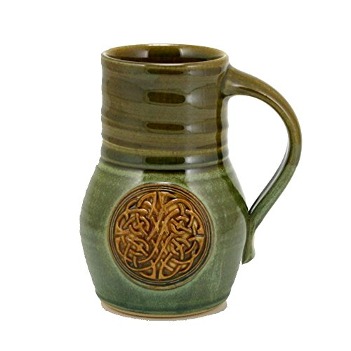 20oz Beaker Beer Mug with Celtic Knot emblem and Cascade Green Glaze