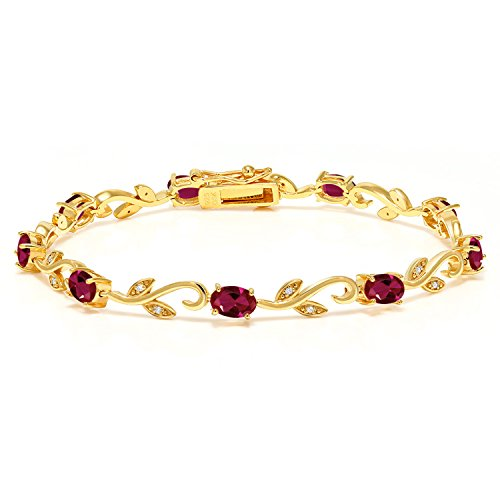 Gem Stone King 18K Yellow Gold Plated 4.63 Ct Created Ruby Diamond Silver Greek Vine 7 Inch Bracelet