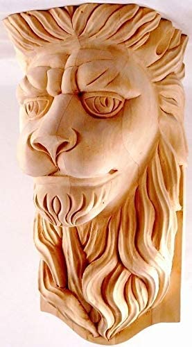 9-1//2H X 6W x 5-1//2D Hand Carved Red Oak Wood Lion Head Corbel Onlay CK602B